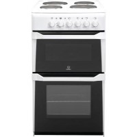 Indesit IT50EWS 50cm Double Cavity Electric Cooker With Solid Plate Hob White