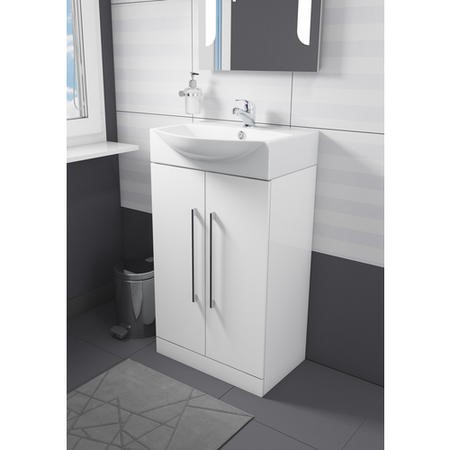 Essence White Freestanding Basin Vanity Unit - Includes Baisn - 500mm