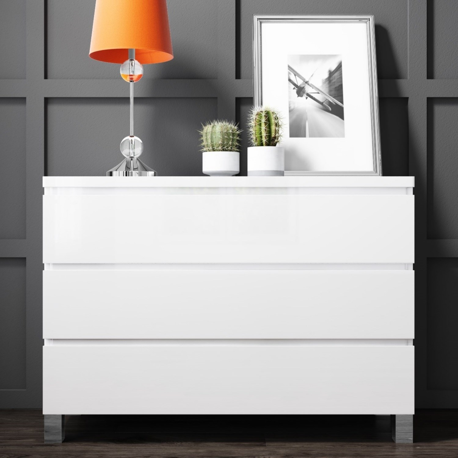 High Gloss Bedroom Cupboards Lemon Bedroom Accessories Toddler Bedroom Curtains Black And White Bedroom Cupboard Designs: High Gloss Chest Of Drawers White 3 Drawer Bedroom