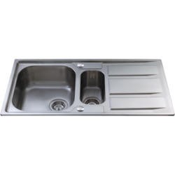 CDA KA82SS 1.5 Bowl Reversible Stainless Steel Sink With Deep Drainer