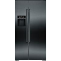 Siemens KA92DHXFP iQ700 American Side-by-side Fridge Freezer With Ice & Water Dispenser & Internal Cameras - Antifingerprint Black Steel Best Price, Cheapest Prices