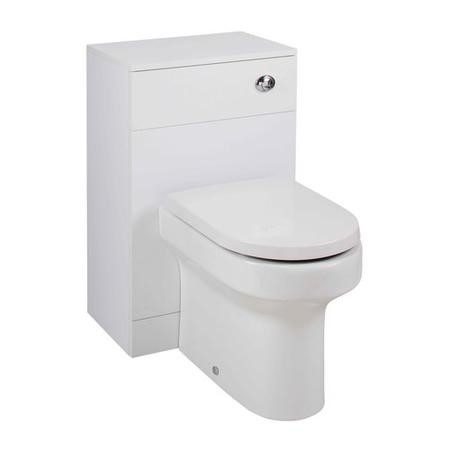 White Slim Bathroom Furniture with Round Toilet Pack