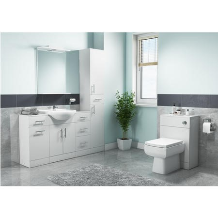 White WC Toilet Unit with Square Toilet & Soft Close Seat - W500 x D840mm