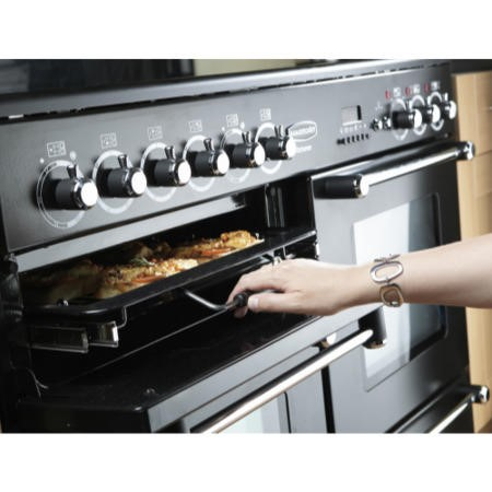 Rangemaster 78880 Kitchener 110cm Electric Range Cooker With Ceramic Hob - Cream And Chrome