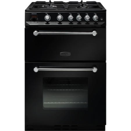 GRADE A2  - Rangemaster 10725 Kitchener 60cm Gas Cooker Black And Chrome