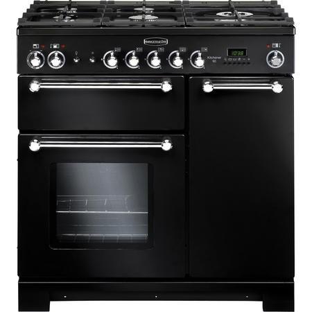 Rangemaster 81420 Kitchener 90cm Duel Fuel Range Cooker In Black ...