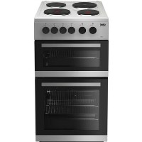 Beko KD533AS 50cm Twin Cavity Electric Cooker With Solid Plate Hob - Silver
