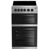 Beko KDC5422AS 50cm Twin Cavity Electric Cooker with Ceramic Hob - Silver Best Price, Cheapest Prices