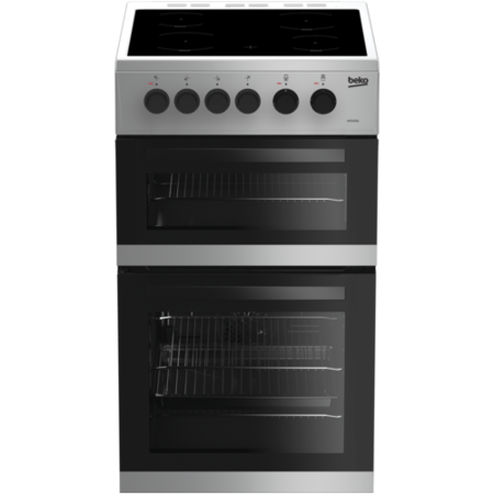 Beko KDC5422AS 50cm Twin Cavity Electric Cooker with Ceramic Hob - Silver