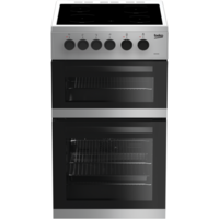 Beko KDC5422AS 50 cm Twin Cavity Electric Cooker with Ceramic Hob - Silver