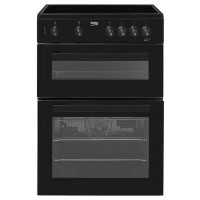 Beko KDC611K 60cm Double Oven Electric Cooker With Ceramic Hob Black Best Price, Cheapest Prices