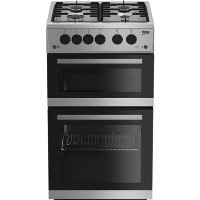 Beko KDG582S 50 cm Twin Cavity Gas Cooker - Silver Best Price, Cheapest Prices