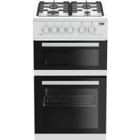 Beko KDG582W 50 cm Twin Cavity Gas Cooker - White Best Price, Cheapest Prices