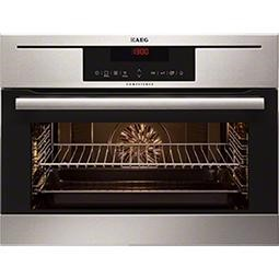 AEG KP8404021M Compact Height Electric Built-in Single Oven With Pyroluxe Cleaning Stainless Steel