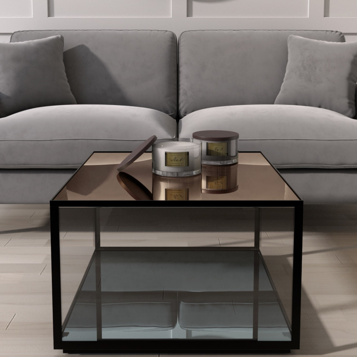 Mirrored Coffee Table With Black Metal Frame Square Ken001 Ebay