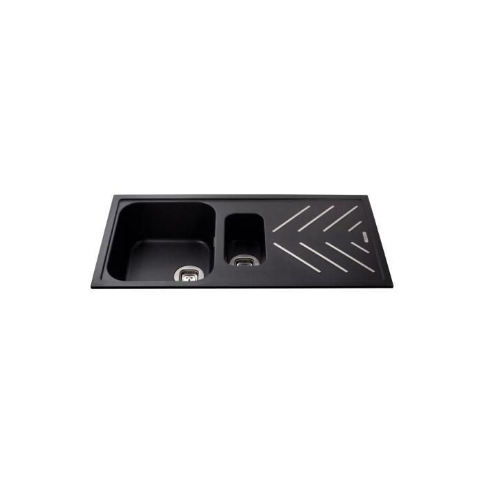 CDA KG82BL Composite Double Bowl Sink Black | Appliances Direct