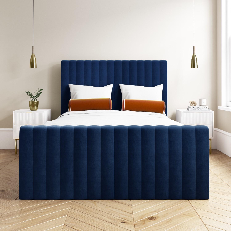 Double Velvet Ottoman Bed In Navy Blue Side Storage Ebay