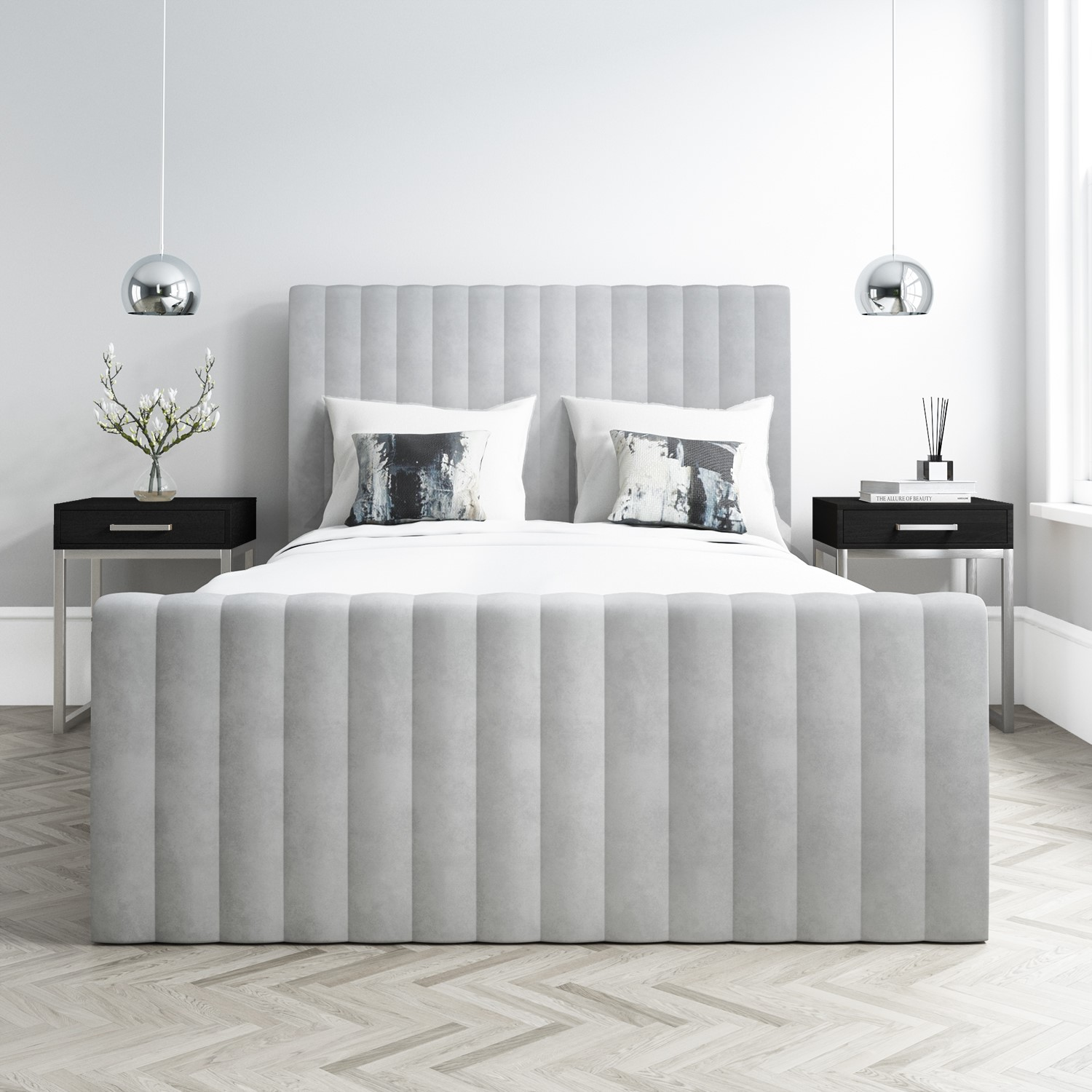 Picture of: New King Size Storage Bed In Silver Grey Velvet Side Ottoman