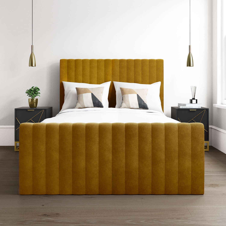 Khloe Velvet King Size Ottoman Bed In Mustard Yellow Khl007 Ebay
