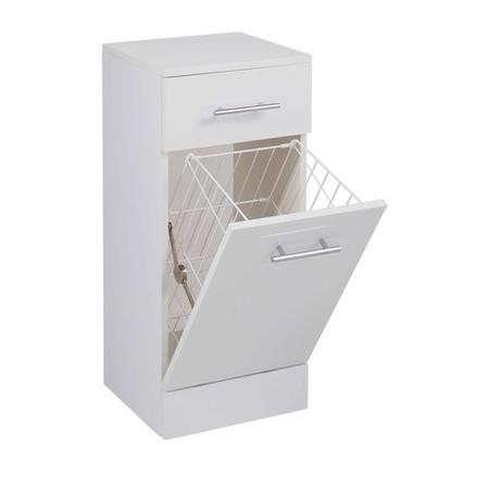White Free Standing Laundry Basket Unit - 300mm Depth