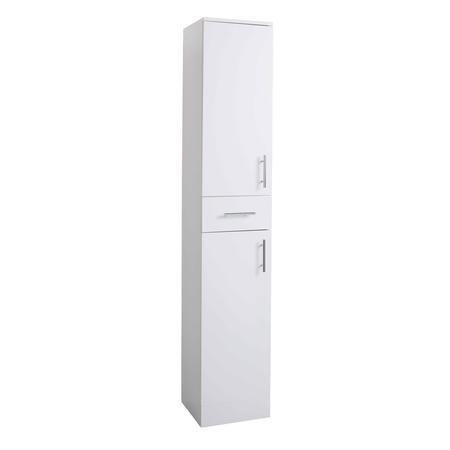 White Tall Boy Bathroom Cabinet Storage Unit - W350 x H1902mm