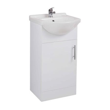 White Bathroom Basin Vanity Unit Floor Standing - W450 x H840mm