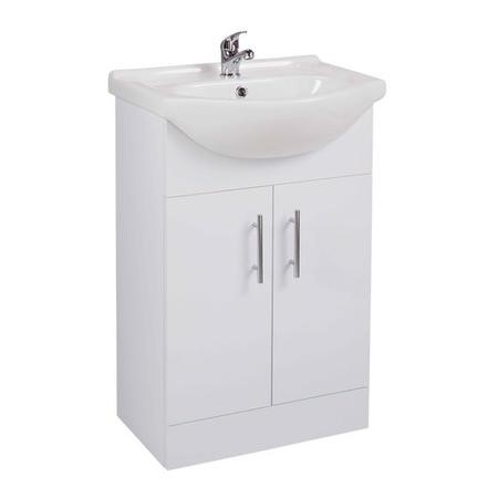Alpina White Freestanding Basin Vanity Unit - Includes Basin - 550mm