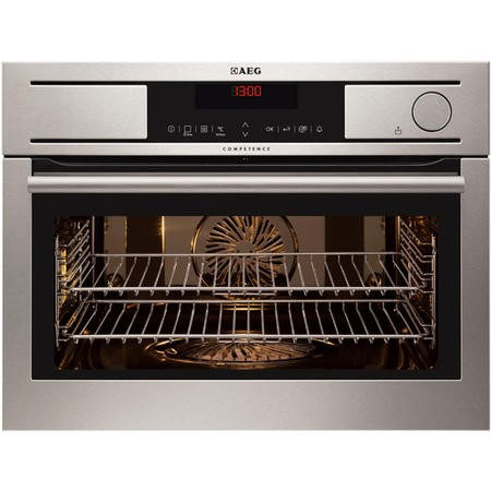 GRADE A1 - AEG KS8404001M Compact Height Multifunction Built-in Steam Oven Antifingerprint-coated Stainless Steel