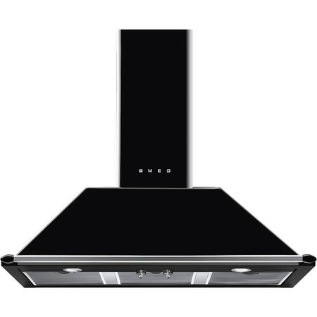 GRADE A2 - Smeg KT100BLE Traditional Style 100cm Chimney Cooker Hood With Rail - Black