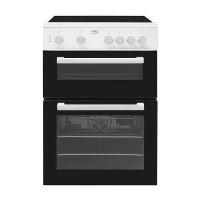 Beko KTC611W 60cm Double Cavity Electric Cooker With Ceramic Hob White Best Price, Cheapest Prices