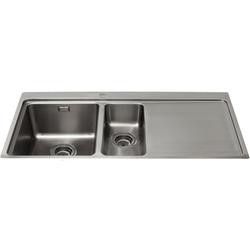 CDA KVF22RSS Designer One And A Half Bowl Sink Flush Fit - Right Hand Drainer