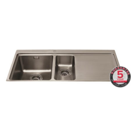 GRADE A3 - CDA KVF22RSS Designer One And A Half Bowl Sink Flush Fit - Right Hand Drainer
