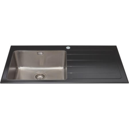 CDA KVL01BL Inset 1.0 Bowl Right Handed Drainer Glass Sink Black