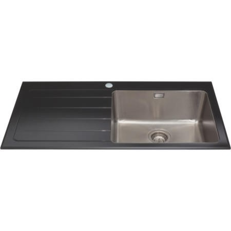 CDA KVL01LBL Inset 1.0 Bowl Left Handed Drainer Glass Sink Black