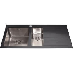 CDA KVL02BL KVL02 Inset 1.5 Bowl Right Handed Drainer Glass Sink Black
