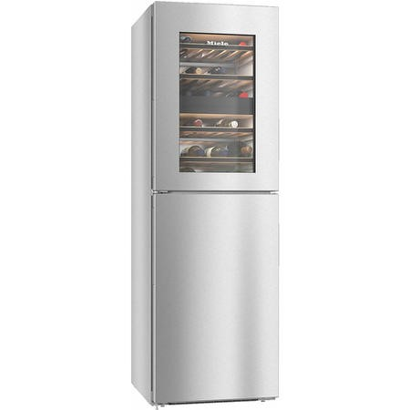 Miele KWNS28462E + 185x60cm Handleless NoFrost Freestanding Freezer And Dual Zone Wine Cabinet -