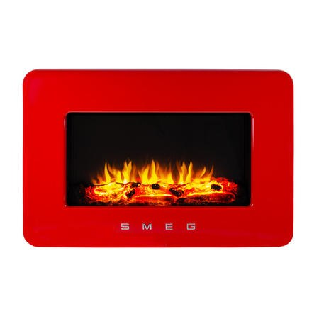 Smeg Modern Wall Mounted Electric Fire Red Retro Style