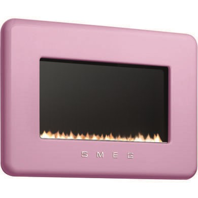 Smeg 50s Retro Style Natural Gas Wall Fire in Pink