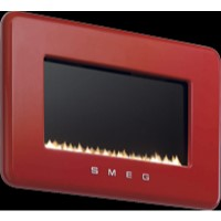 L30FABRE Smeg L30FABRE 50s Retro Style Natural Gas Wall Fire in Red