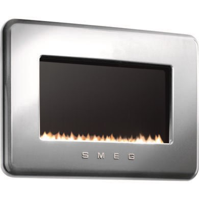 GRADE A1 - As new but box opened - Smeg L30FABSIP 50s Retro Style LPG Gas Wall Fire in Silver