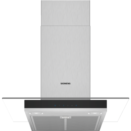 Siemens LC67GHM50B 60cm Chimney Cooker Hood With Flat Glass Canopy - Stainless Steel