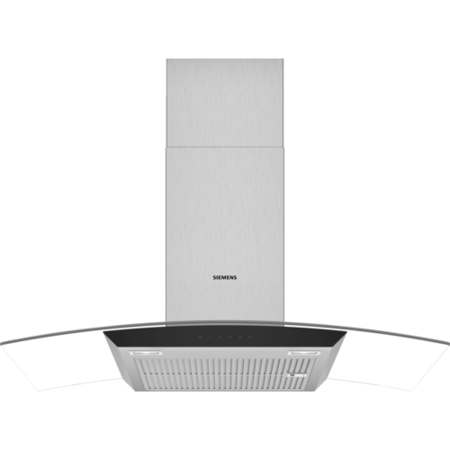 Siemens LC97AFM50B iQ300 60cm Chimney Cooker Hood With Curved Glass Canopy - Stainless Steel