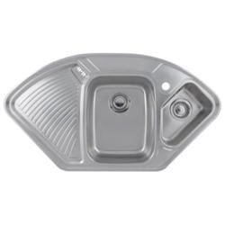 GRADE A2 - Astracast LD15XXHOMESK1 Lausanne 1.5 Bowl Left Hand Drainer Polished Stainless Steel Corner Sink