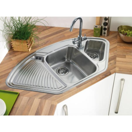GRADE A3 - Astracast LD15XXHOMESK1 Lausanne 1.5 Bowl Left Hand Drainer Polished Stainless Steel Corner Sink