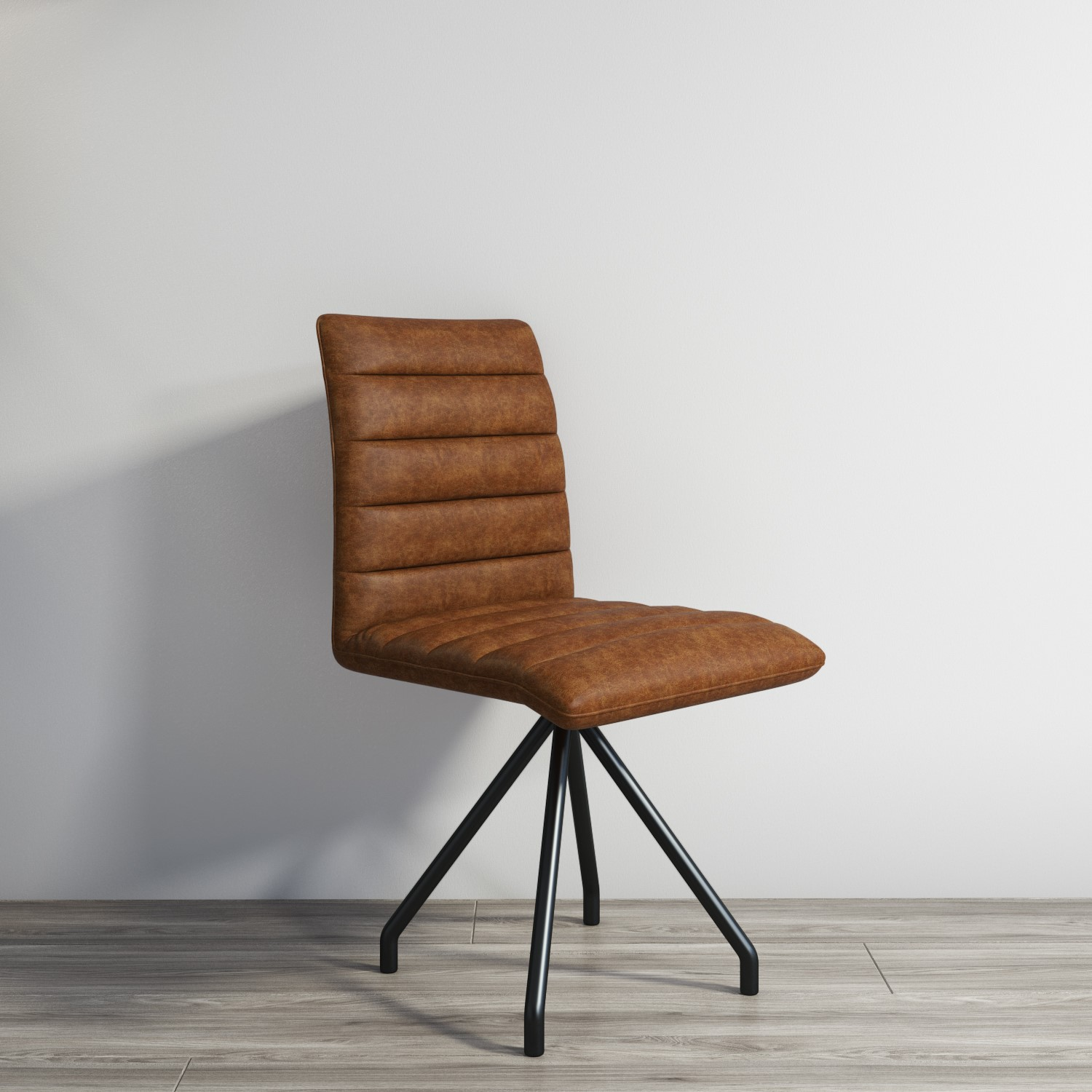 Industrial Real Leather Dining Chair - Vintage Tan Brown ...