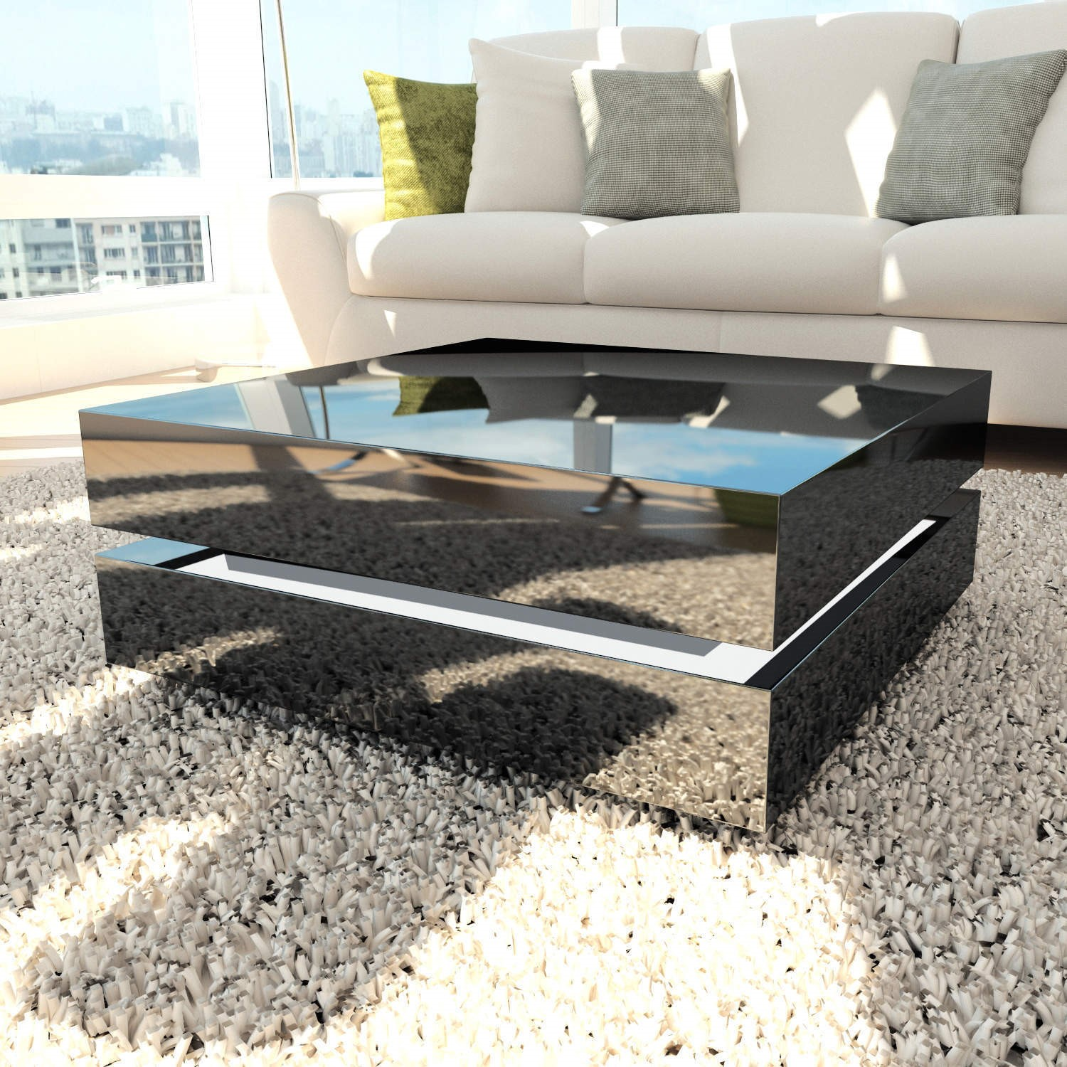 Tiffany black high gloss cubic led coffee table tiff015 ebay - How high should a coffee table be ...