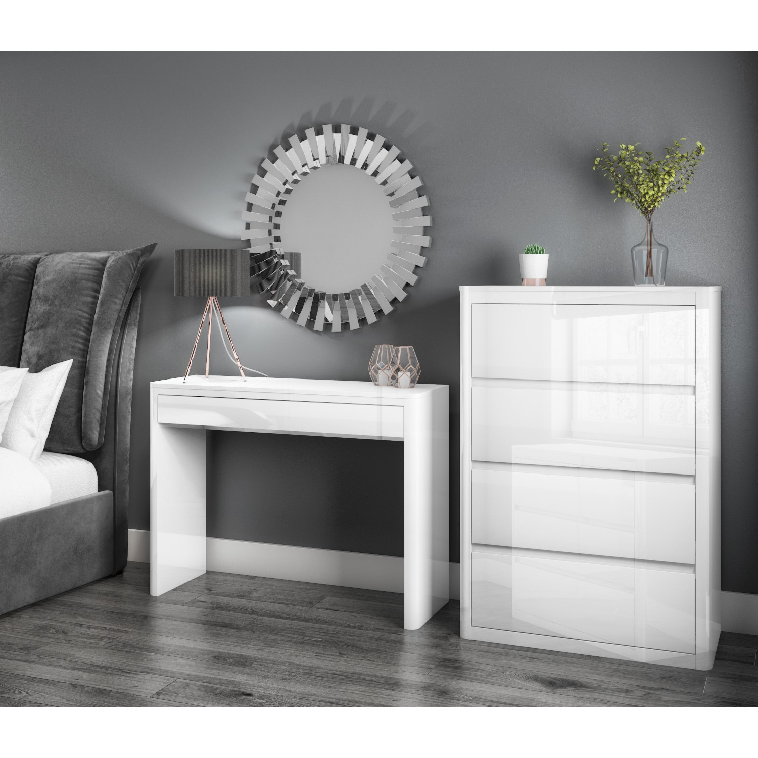 Delicieux Image Is Loading Modern White High Gloss Dressing Table Console Vanity