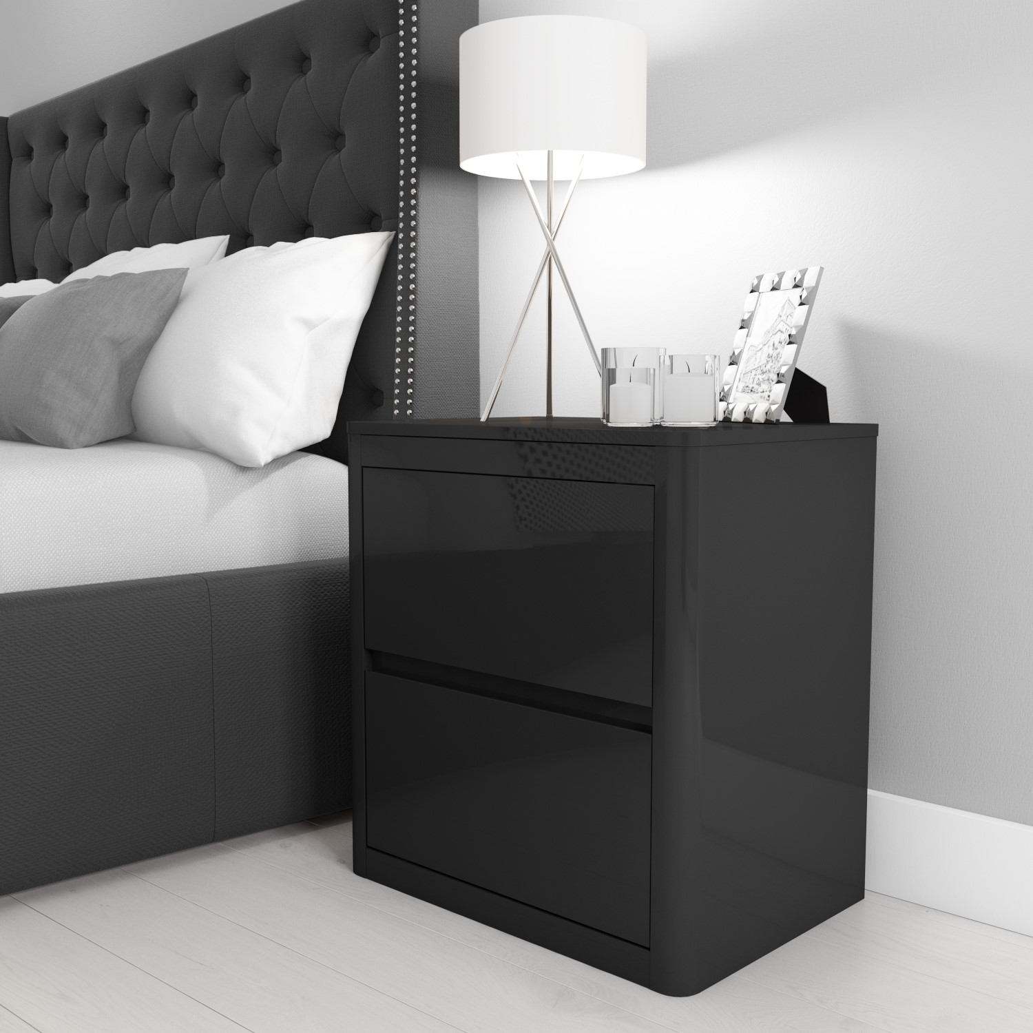 Lexi High Gloss Anthracite Grey 2 Drawer Bedside Table 5056096016796 Ebay