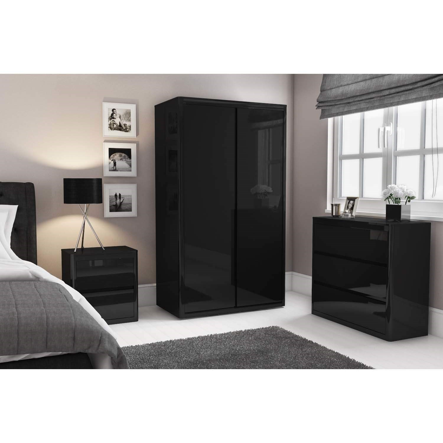 High Gloss Bedroom Cupboards Lemon Bedroom Accessories Toddler Bedroom Curtains Black And White Bedroom Cupboard Designs: Black High Gloss Bedside Table 2 Drawer Cabinet Chest