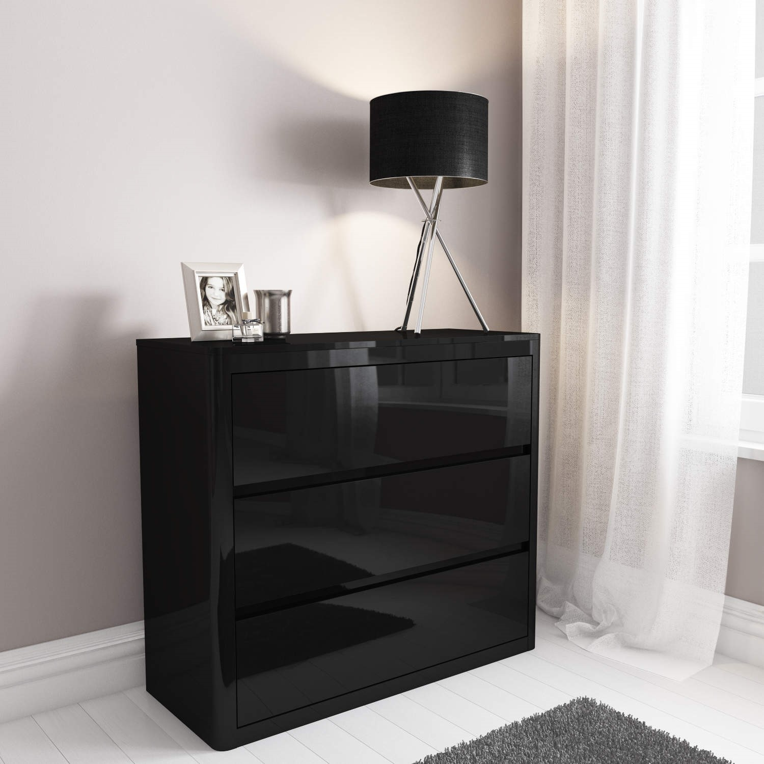 High gloss chest of drawers black 3 drawer cabinet bedroom furniture table
